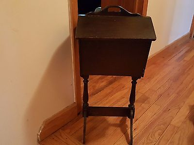 Pre-1930's  Antique Mahogany Sewing Cabinet Stand With Dual Flip Tops Removable