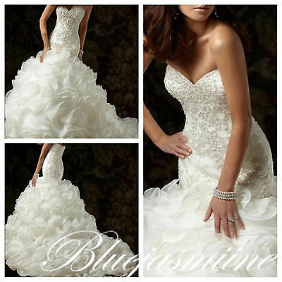 2017 Mermaid Wedding Dress White/Ivory Bridal Gown Custom Size 6 8 10 12 14 16++