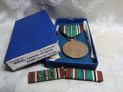 WWII EAME European Campaign Medal and Ribbons With 3 Stars In Original Box
