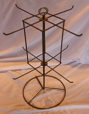 """Vtg Counter Top Metal Wire Store Display Rack Rotating Spinning Table Top - 17"""""""