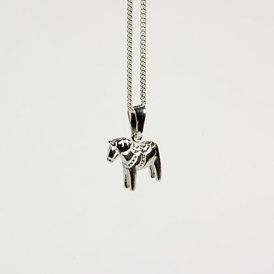 NEW! Sterling Silver Swedish Dala Horse Charm and Necklace by Grannas Olssons