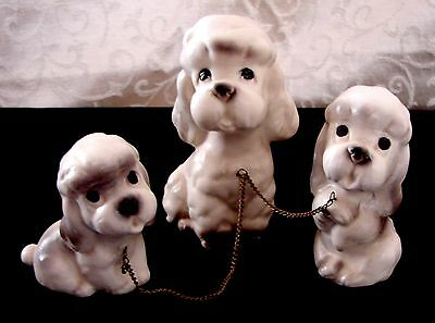 NICE! Vintage Ceramic White Poodle 3 Dog Set Mother Chain 2 Puppies Figurines