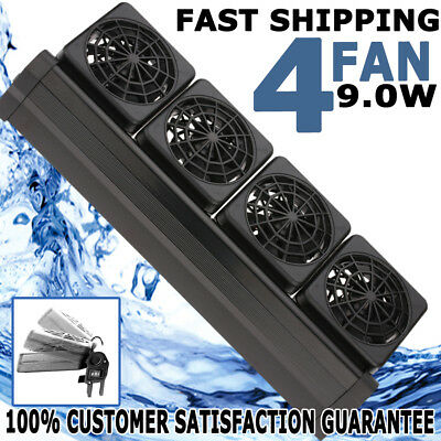 AU Aquarium Cooling Fan Water Fish Tank Cold Cool Wind Chiller 4 Heads 12V