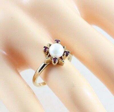 10k Solid Yellow Gold Natural Pearl and Ruby Ring Size 7 3/4