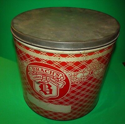 """Large Vintage Brach's Candy Tin / Can - Store Display Advertising 10"""" Diameter"""