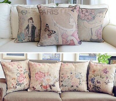 "18"" Vintage Shabby Chic Cottage Lady Floral Linen Throw Pillow Cushion Cover"