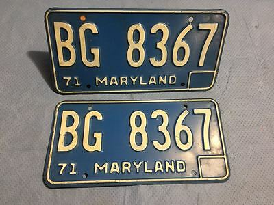 1971 Maryland License Plates Tags - Matched Pair
