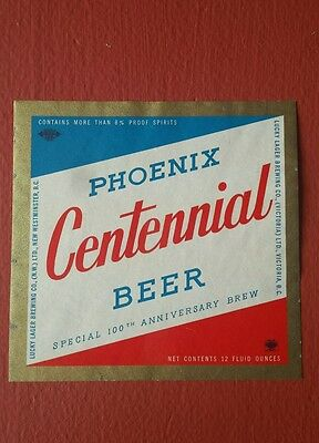 Lucky lager Phoenix Centennial beer label Victoria BC Canada