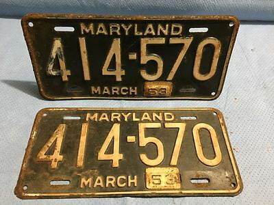 1953 Maryland License Plates Tags - Matched Pair