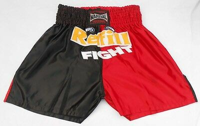 Muay Thai Fight Shorts Kick Boxing Trunks Martial Arts Boxing (Red n Black)