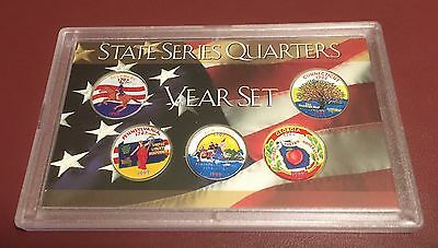 Complete Set Of Colorized 1999 State Quarters ~ Denver Mint (5 Coins)