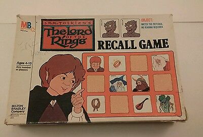 The Lord of the Rings Recall Game Milton Bradley Vintage 1978, 100% Complete