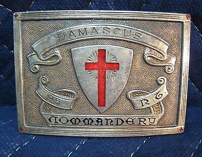 Vintage Damascus Commandery Knights Templar Masonic Belt Buckle Inlaid Red Cross