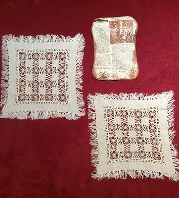 Pair of Fabulous Fringed Antique Square Linen & Pull Work & Embroidery Doilies