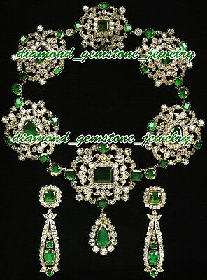 40.25cts-ROSE-CUT-DIAMOND-EMERALD-VICTORIAN-WEDDING-STERLING-SILVER-NECKLACE-SET