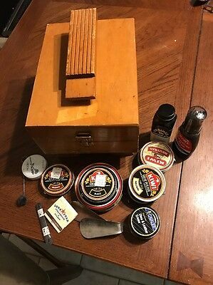 Vintage ~ Wooden ~ Shoe Shine Shining Kit Box & Accessories ~ used