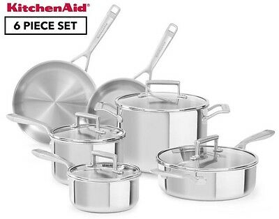 KitchenAid Tri-Ply Stainless Steel Cookware 6-Piece Set / Silver