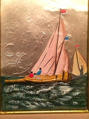 """Beautiful Oil on Sterling Silver 3D Seascape Italy Framed Signed Art  10""""x12"""""""