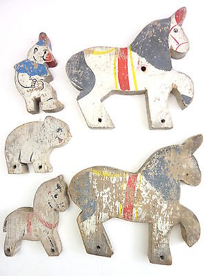 Vintage Wooden Folk Art Flat Painted Horses and Clown Primitive Antique