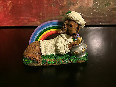 Danbury Mint Perpetual Calendar Rainbow Spring Winnie Dog Figurine Month March