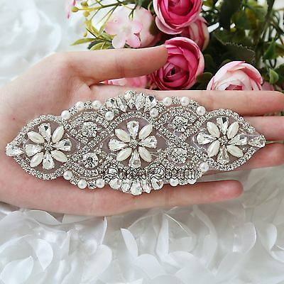 Wedding Crystal Rhinestone Pearl Beaded Bridal Applique For Bride Sash Belt