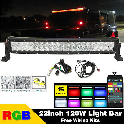 22 inch 5D Bluetooth RGB Led Curved Light Bar Multicolor Offroad Jeep Truck ATV