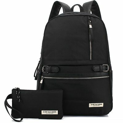 Unisex Casual Backpack Laptop Rucksack School Book Bag Daypack+Wallet Set Black