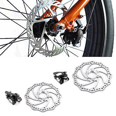 Mountain Bicycle Bike Mechanical Disc Brake F-160mm/R-140mm + Free Rotors 160mm
