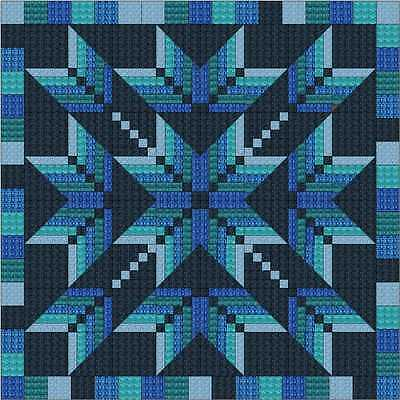 Easy Quilt Kit/Exploding Star Blues/3D/Pre-cut Fabrics Ready To Sew/