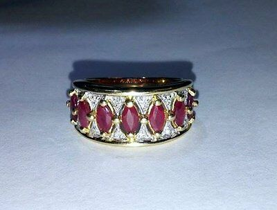 14K Solid Yellow Gold, Natural Marquise Red Ruby and Diamond Ring - Size 6