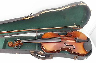 old violin with bow & case