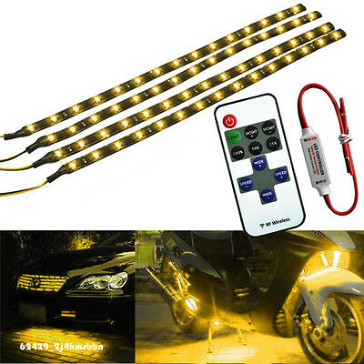 Wireless Remote + 4Pcs Flexible Universal Motorcycle ATV LED Light Strip Yellow