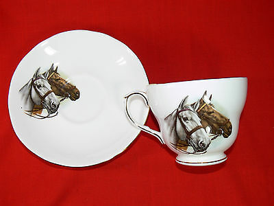 """Vintage DUCHESS FINE BONE CHINA Cup and Saucer Duo Set """"Horses"""" MADE IN ENGLAND"""