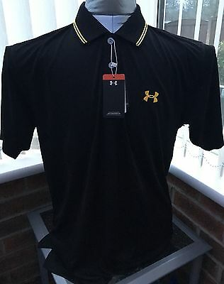 "Brand New Mens Under Armour Golf Polo Shirt Size Large 44"" Black"
