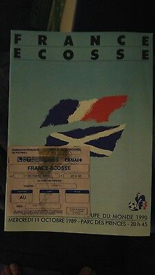 France v Scotland - 1989 world Cup qualifier programme with ticket