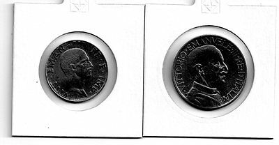 italy, emanuele iii 50 centime and 2 lire