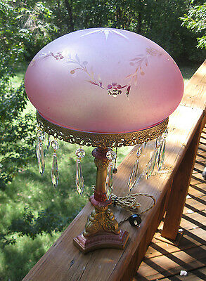 1910 - 1920's Cranberry Mushroom art glass table lamp with poly-chrome base