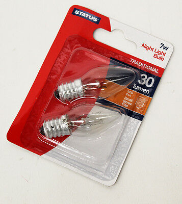 Pack Of 2 Clear Status Night Light Bulbs Ses Small Screw Cap 7W E14  Glm34054