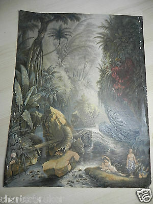 Orig. 1856 George Baxter Coloured Oil Print The Mountain Stream Indians Reposing