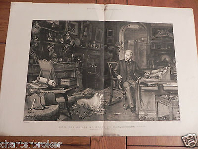 ORIGINAL large 1886 PRINT HRH The Prince of Wales at Marlborough House 23 x 16""