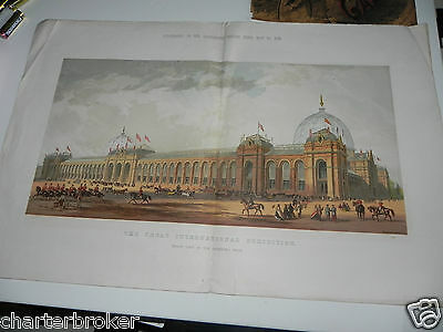 Antique Scarce 1862 Colour Litho Print - The Great International Exhibition