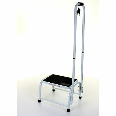Single Step Stool With Support Handle Home Office Medical Disabled Aid Assist