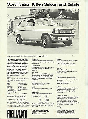 RELIANT KITTEN SALOON & ESTATE original 2 sided A4 specification sheet 1978