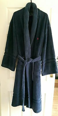 mens Ralph Lauren navy blue towelling dressing gown/robe size l/xl vgc