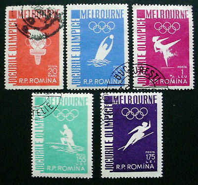 Romania 1956: Olympic Games Melbourne: Set 5 Used Stamps Lightly Hinged