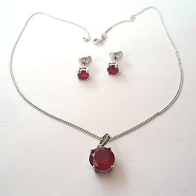Women's Set Necklace And Earrings C. Silver With Simulated Red Rubies 206 M