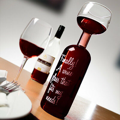 BIG MOUTH WINE BOTTLE GLASS - LARGE 750ml Drinking Glass New Brand