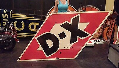 Original DX 1950's Gasoline DSP Oil porcelain Sign Gas Station Auto girl