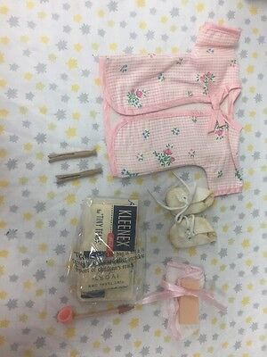 Vintage Tiny Tears Doll Accessories Lot - Bubble Pipe - Kleenex- Shoes- Etc..