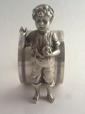 Vintage Silver Plated WMF Napkin Ring With Figure Of A Boy
